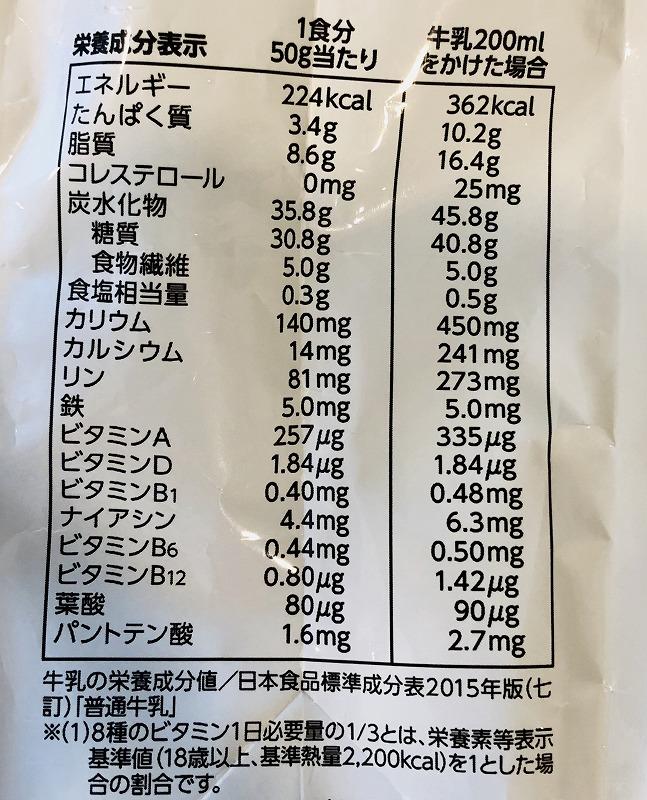 フルグラいちごとマンゴー栄養表