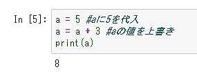 Python基本文法の変数代入